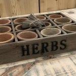 Herb Planter Tray Terracotta Pots from arkvintage. 12 terracotta pots in a wooden tray which can be planted Each pot has a wooden marker which could be written on. Buy online now. shop buy camberley surrey