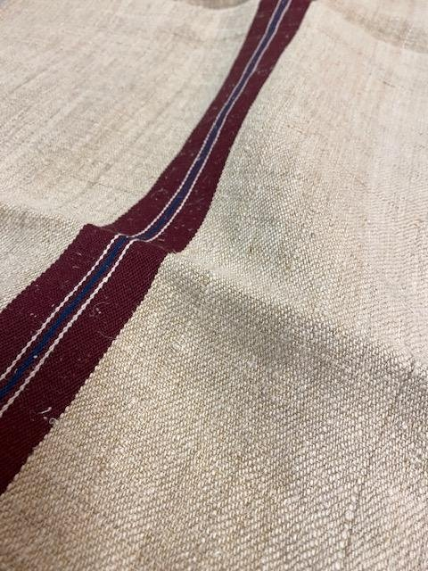 Vintage Linen Sack vintage linen, from Hungary. Heavy weight linen with deep red and blue stripe, see pictures.