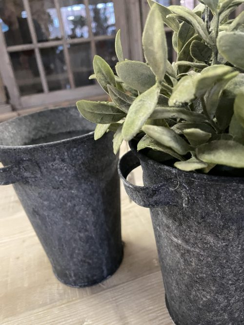 Metal Florist Pots, from Arkvintage. Beautifully made, with a classic tapered design. They have an aged patina, giving a unique finish to each one.