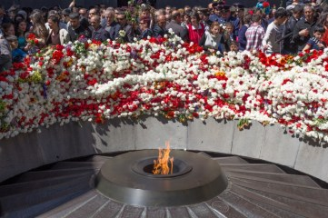 The eternal flame at the Tsitsernakaberd Memorial in Yerevan, Armenia, on Armenian Genocide Remembrance Day 2014.