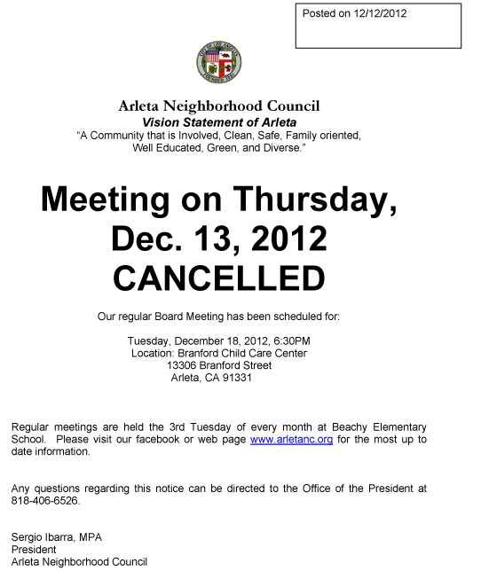 december 13 meeting cancelled