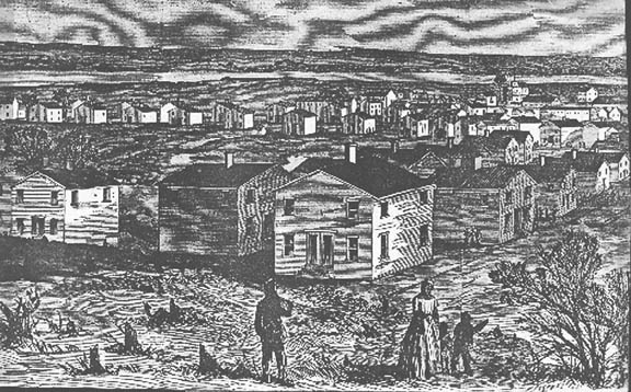 Freedman's Village, detail from a drawing published in Harper's Magazine in May 1864