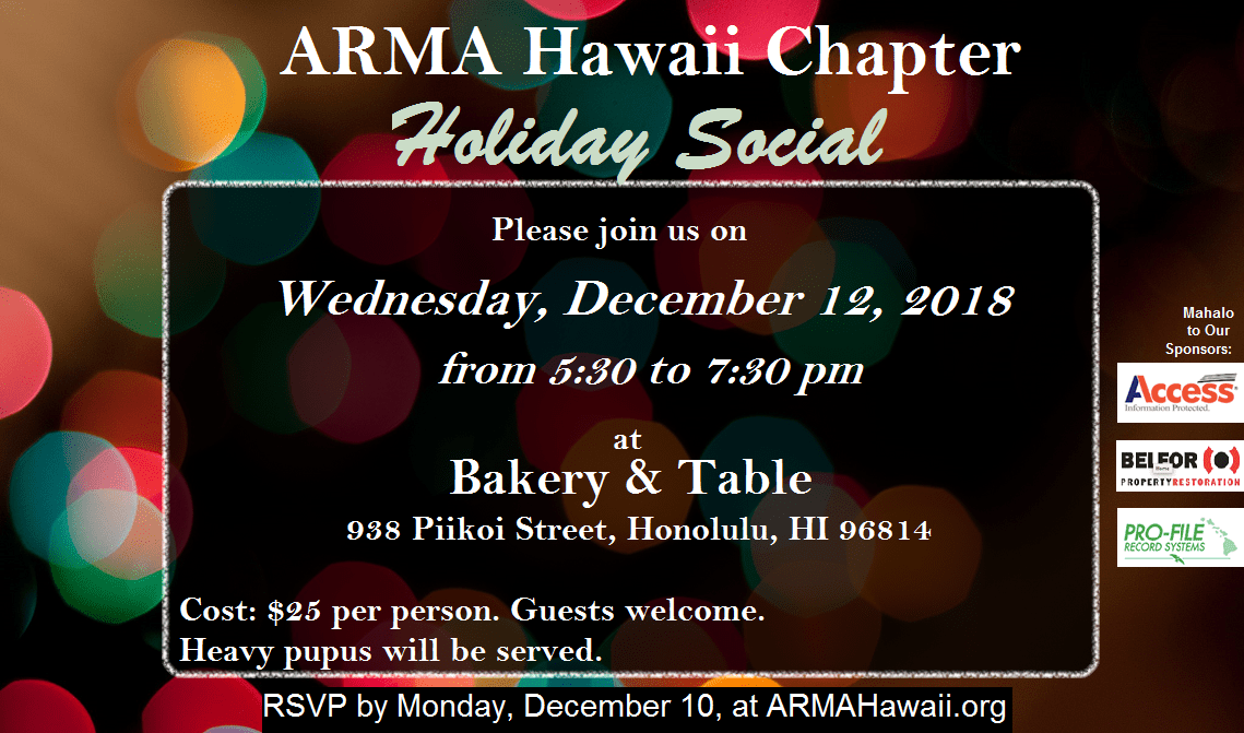 ARMA Hawaii Chapter Holiday Social