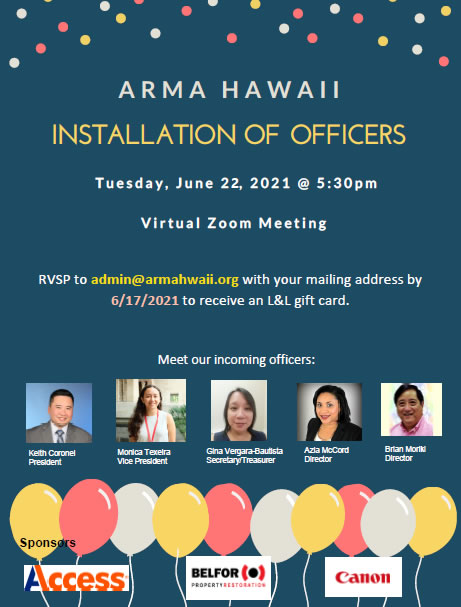 Read more about the article ARMA Hawai`i Presents: Installation of Officers