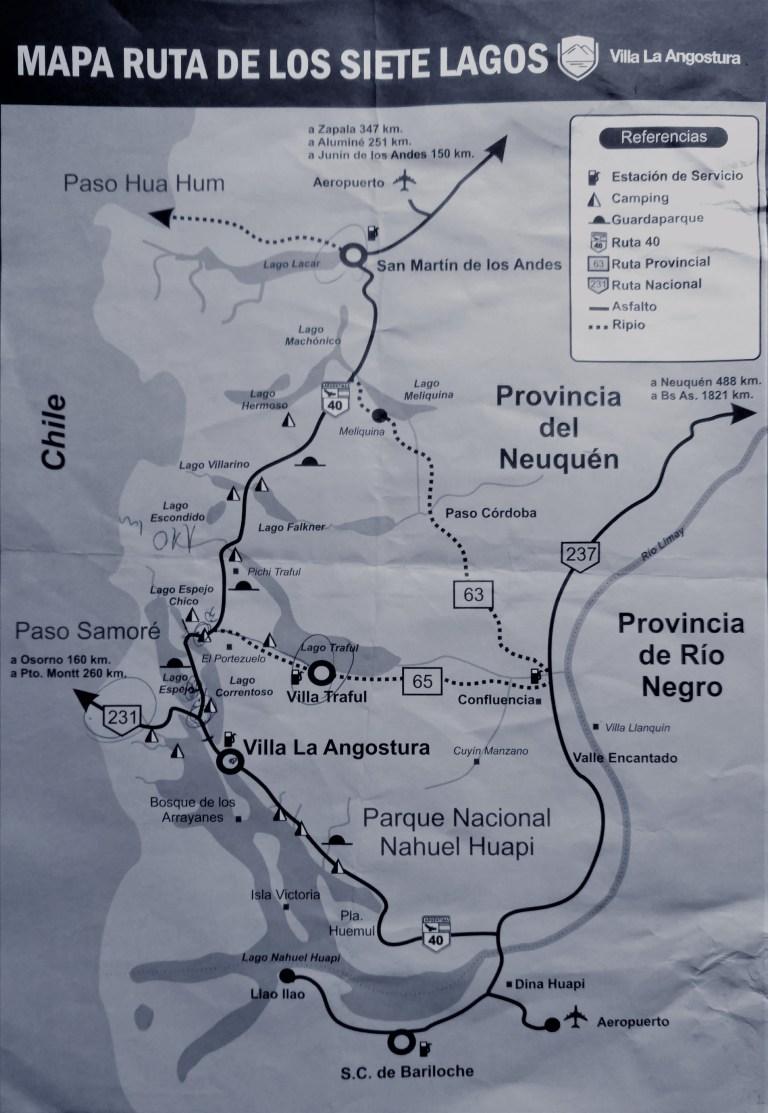 Mapa Ruta de los Siete Lagos