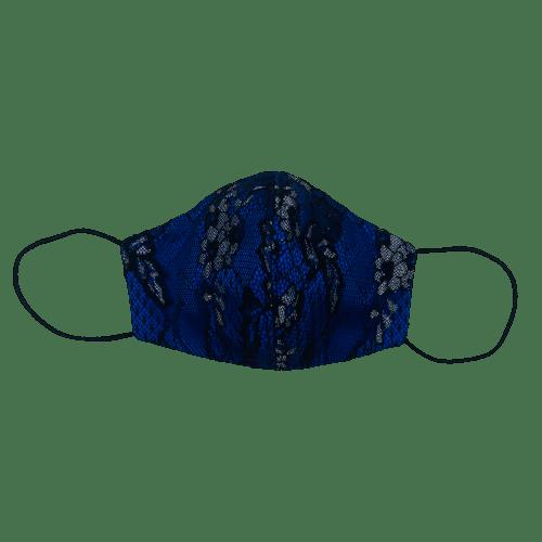 Mascarilla de satén azul con encaje negro 3