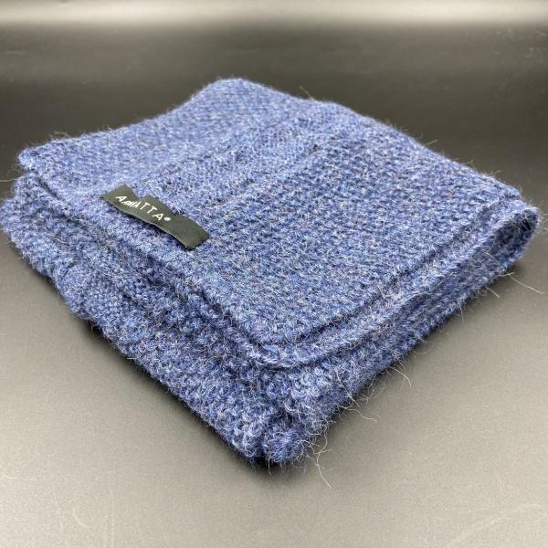 Bufanda de alpaca trenzado azul marino ARMATTA 3
