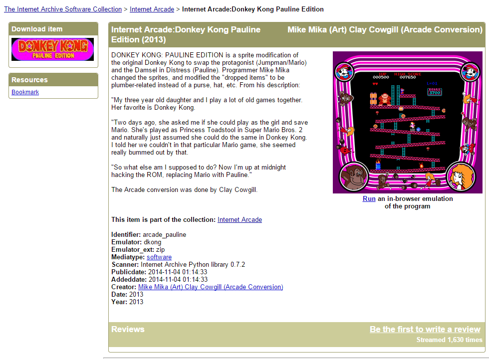 Landing page for Donkey Kong: Pauline Edition