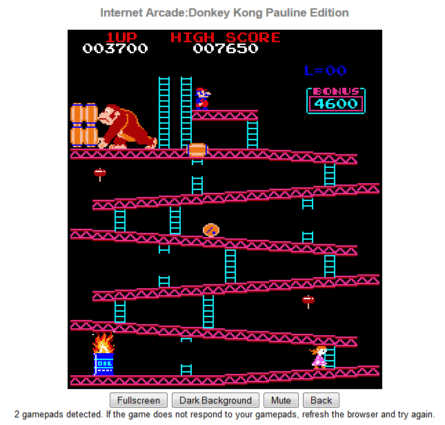 Donkey Kong Arcade: Pauline Edition play screen.