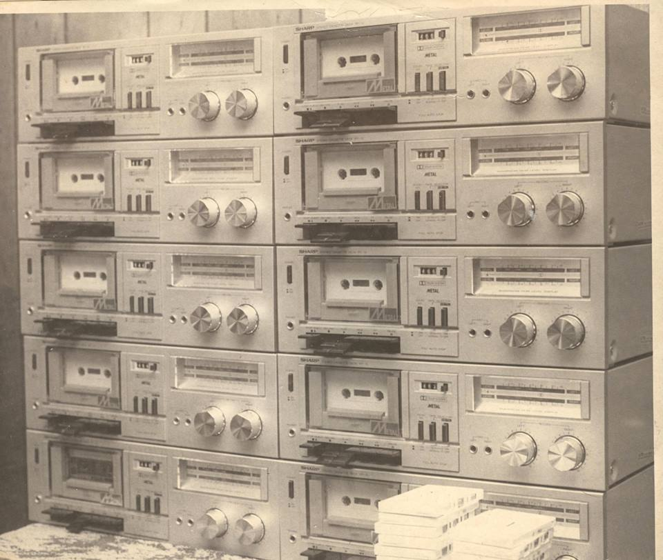 A computer tape duplicator setup (Tom Dykema).
