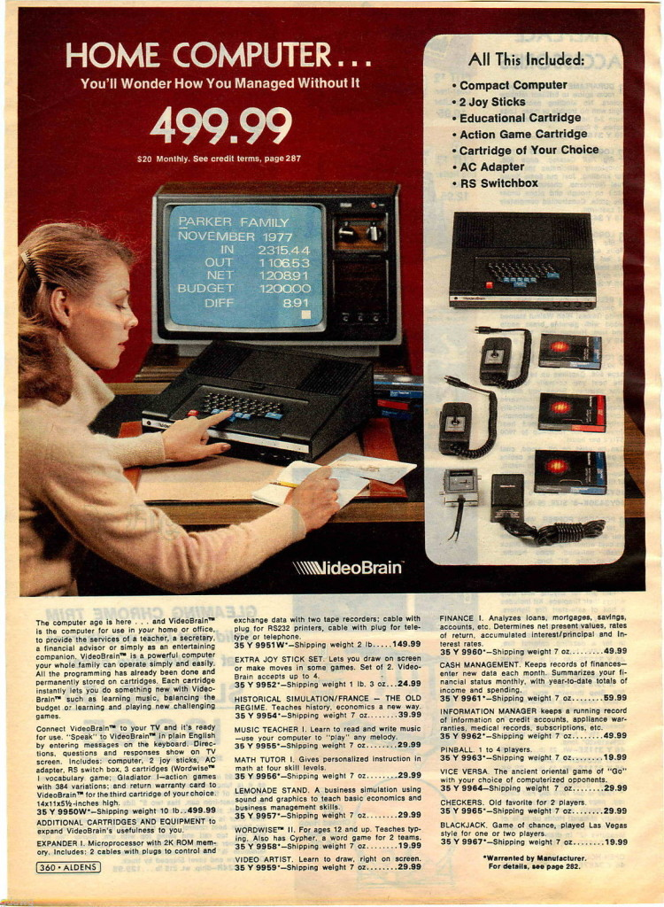 Aldens VideoBrain catalog excerpt (1978).