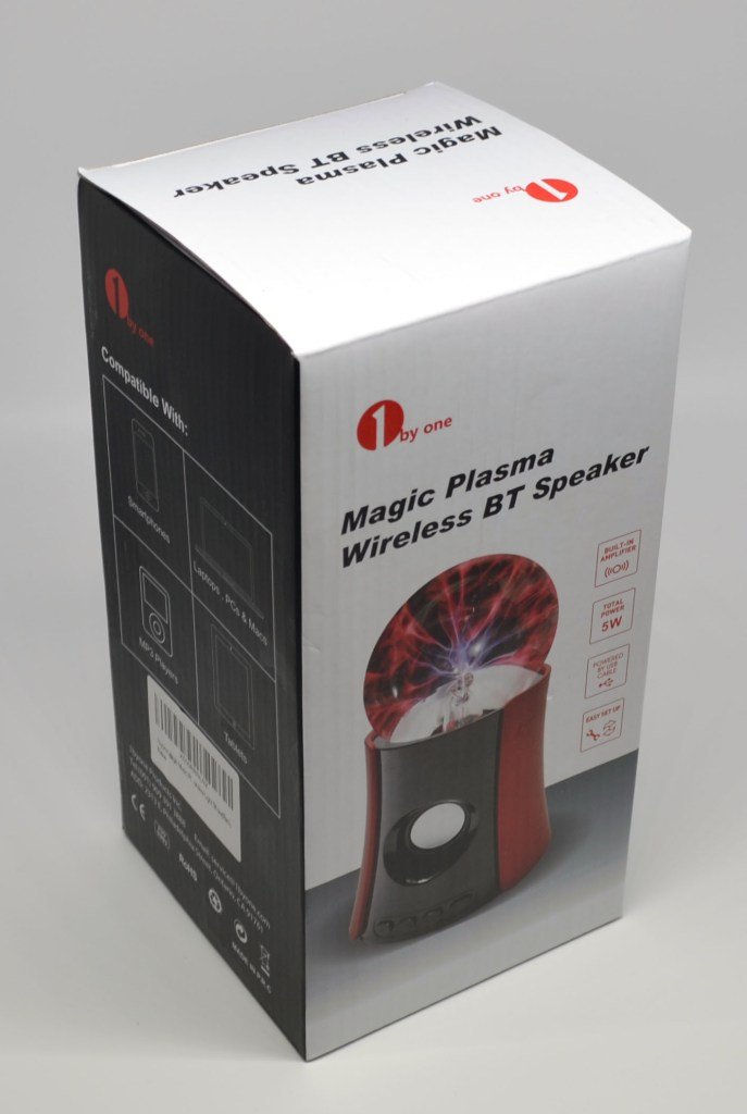 The front of the box for the 1byOne Magic Plasma Wireless Bluetooth Speaker.
