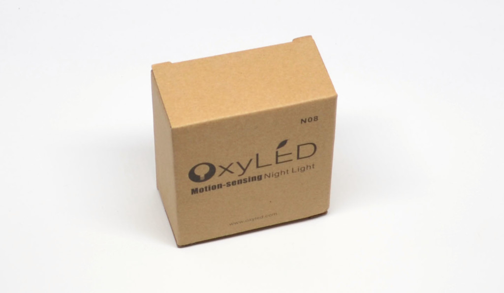 The packaging for the OxyLED N08 Motion-sensing Night Light.