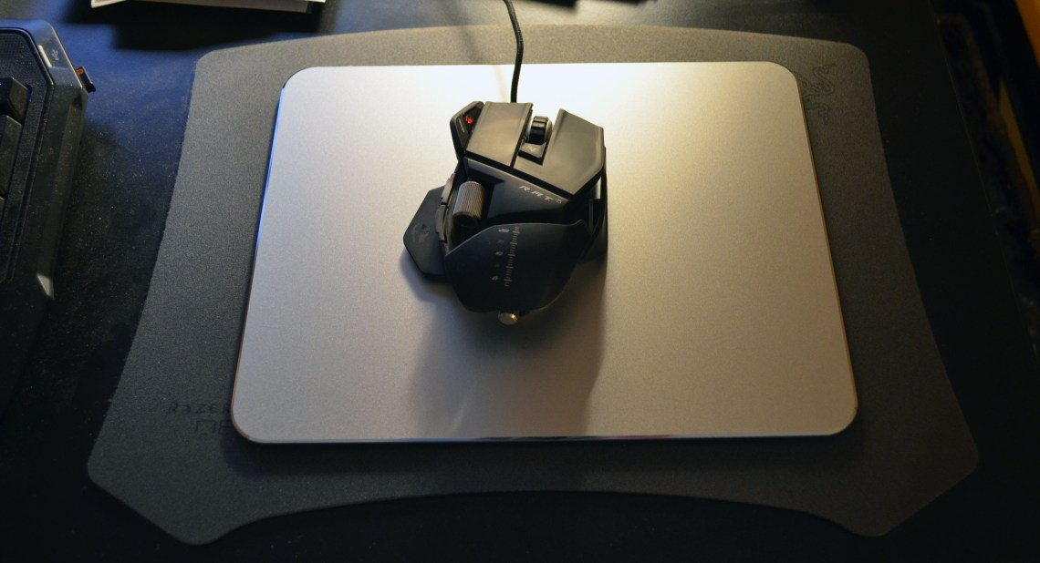 Shown on top of a Razer Destructor mouse pad for a size comparison