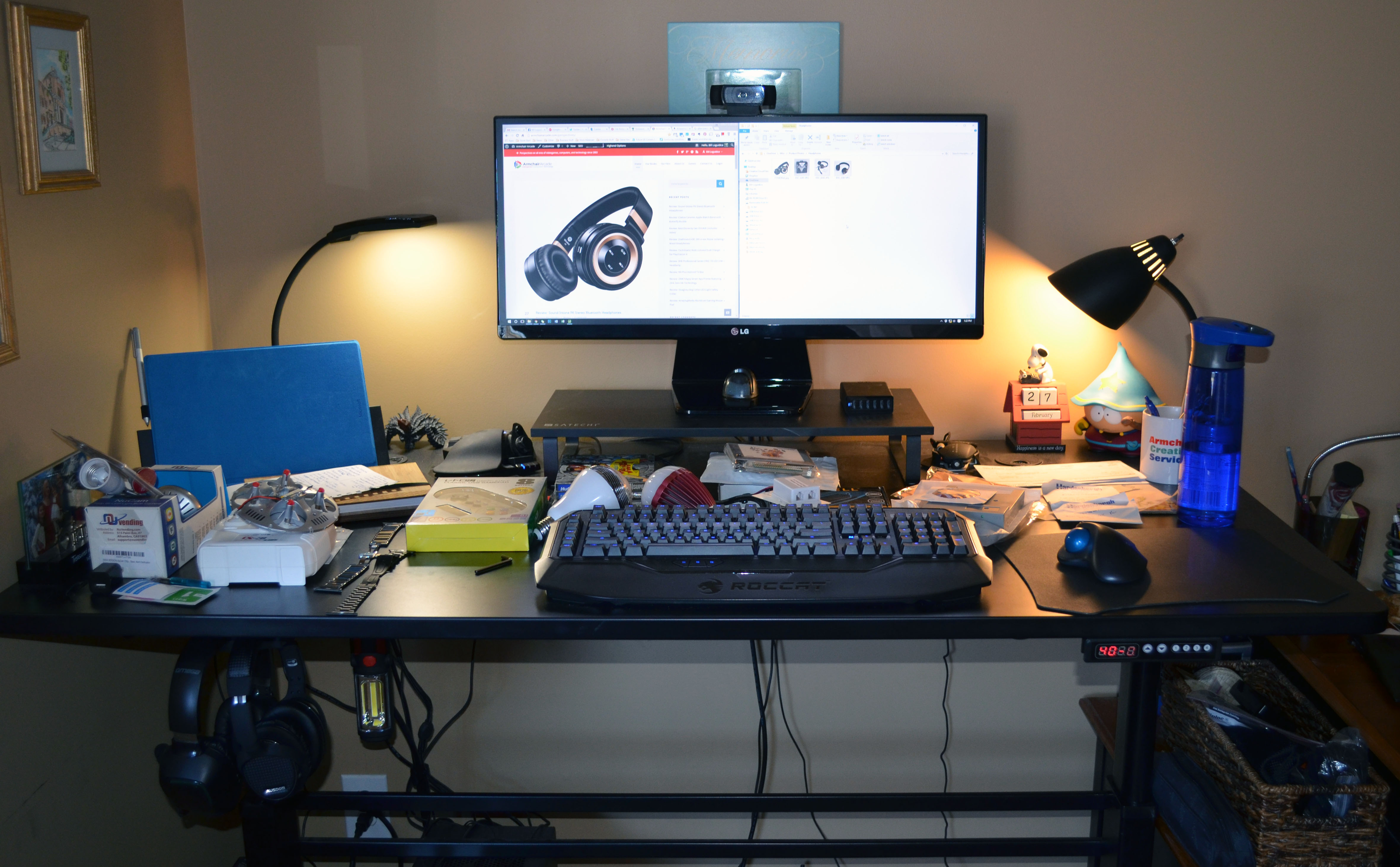My mess of a standing desk, but at least my monitor is now an ideal height.