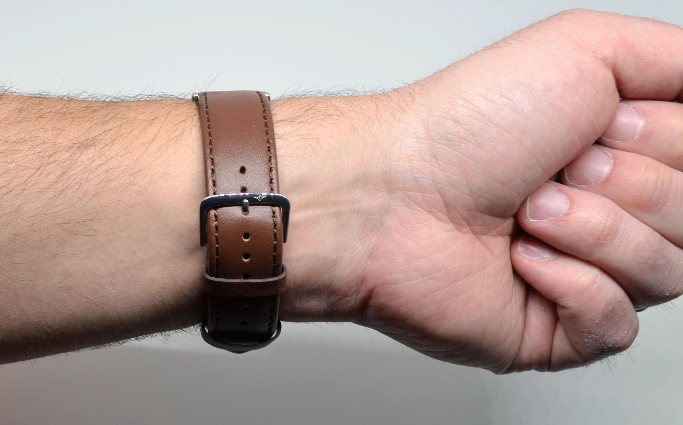 The strap when wearing it.