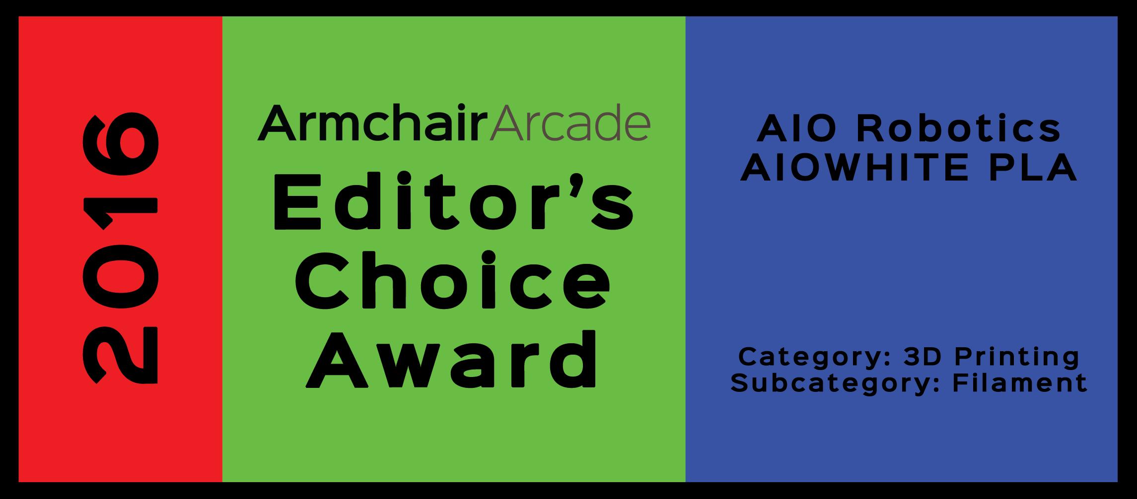 Armchair Arcade Editor's Choice Award 2016: AIO Robotics AIOWHITE PLA 3D Printer Filament