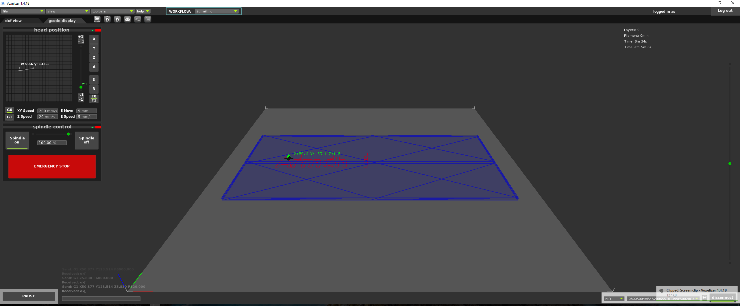 """My gcode display in Voxelizer, with the print in progress. Don't forget to set """"Spindle On"""" before you send the print job!"""