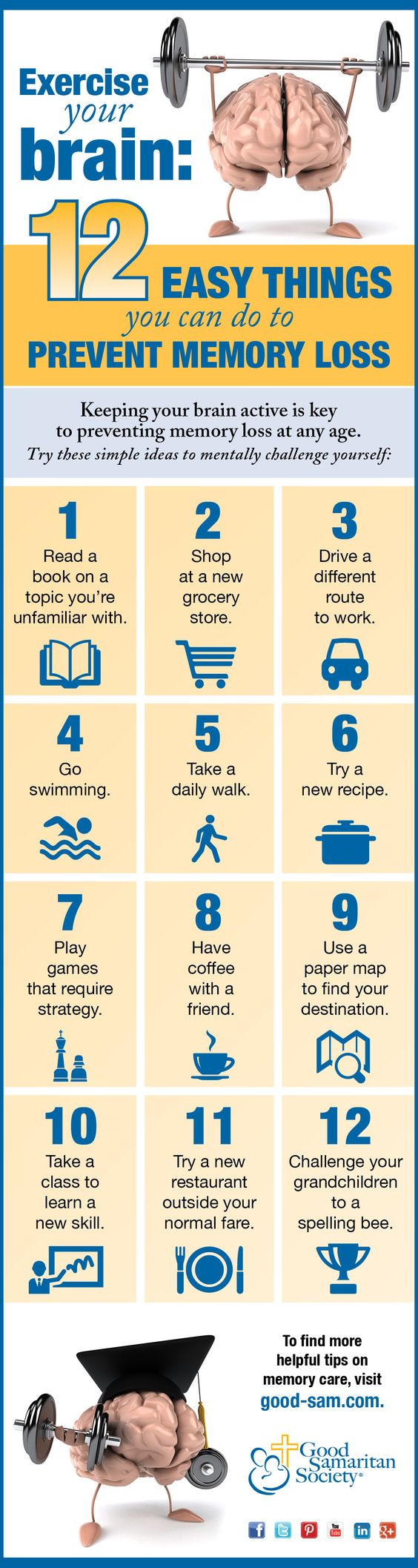 12 Easy Things you can do to Prevent Memory Loss. Source: Good Samaritan Society