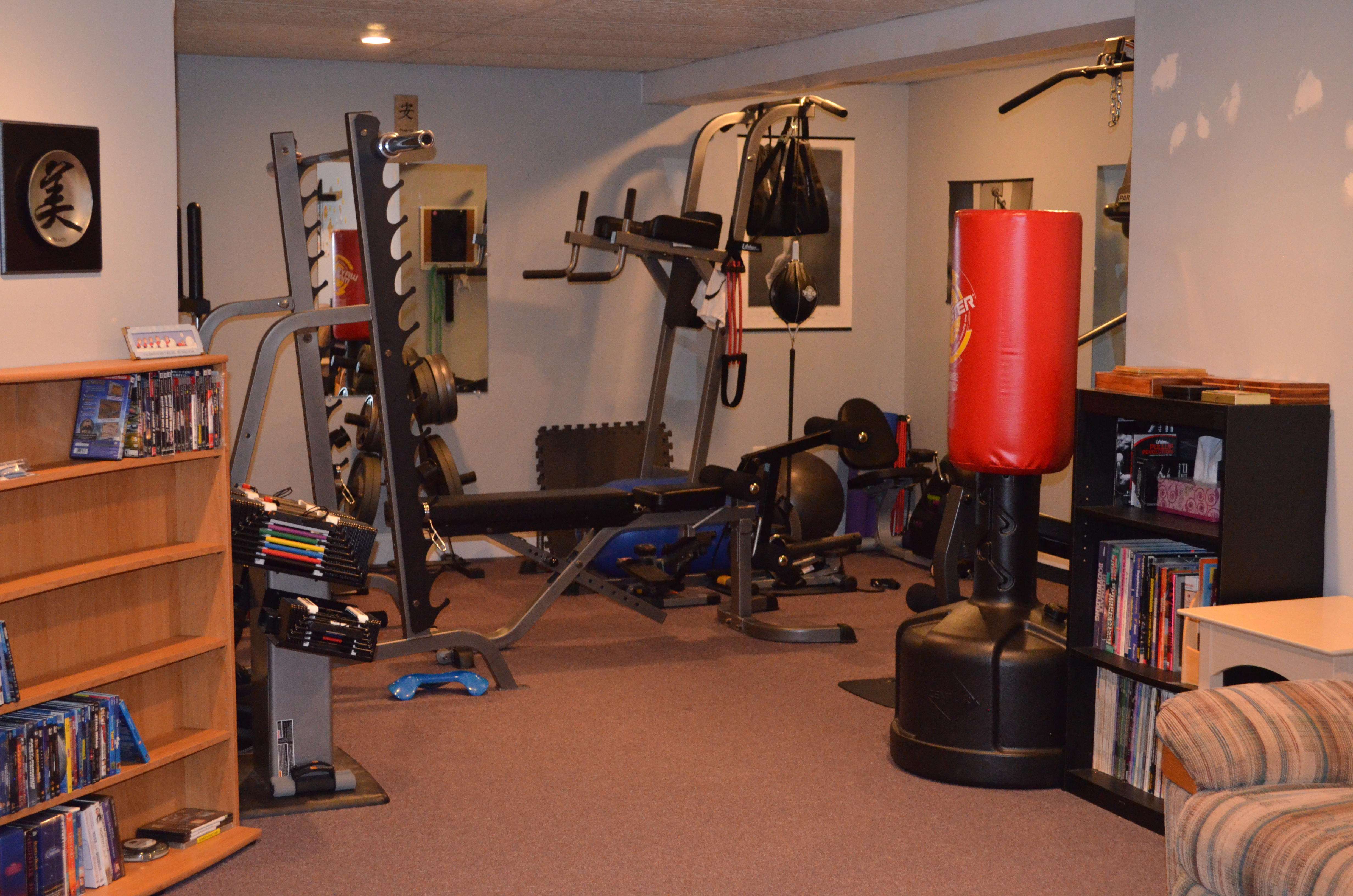 Turning to look into the now usable gym area again.