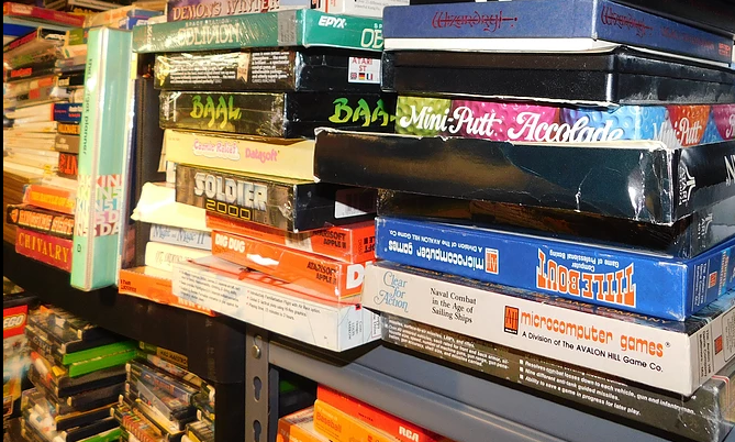 Besides tons of everything else, there are many thousands of boxed games for just about every videogame and computer platform!