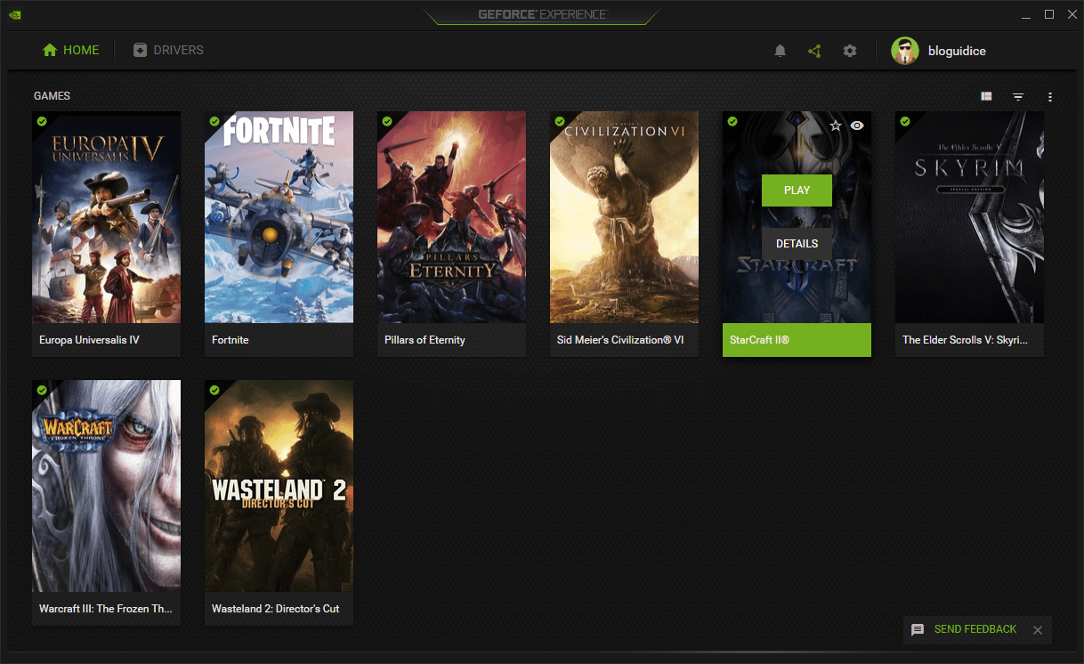 An Example Nvidia GeForce Experience screen. The green checkmark indicates the game is automatically optimized.