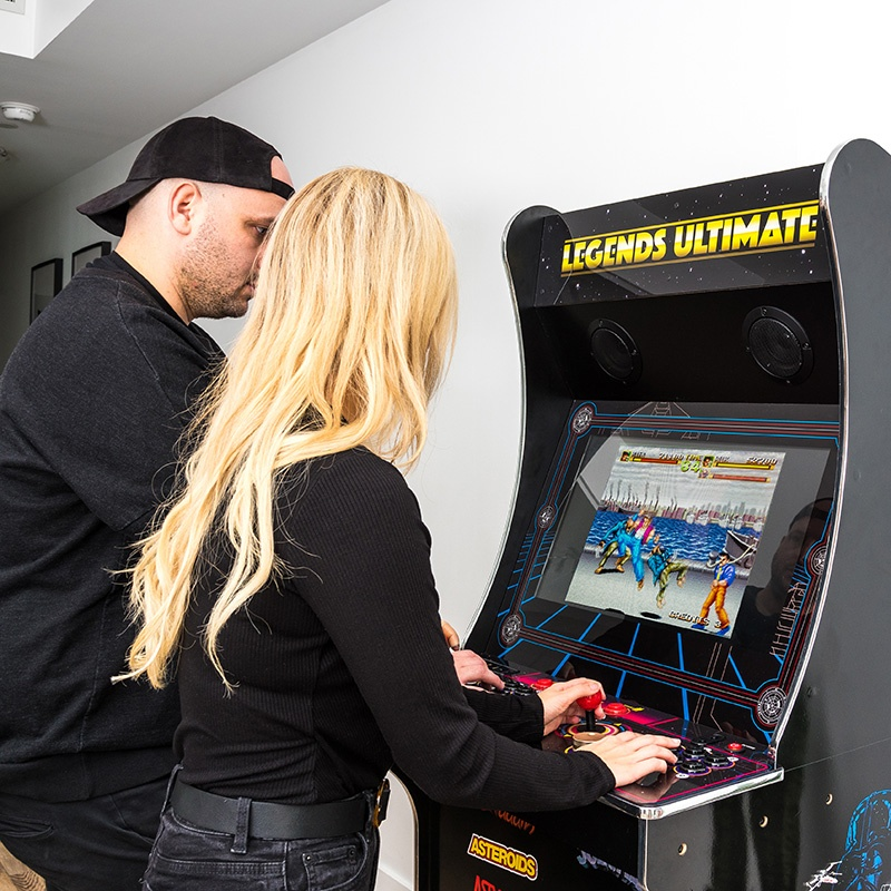 Since it's a full-size machine, it's comfortable for two adults to play side-by-side.
