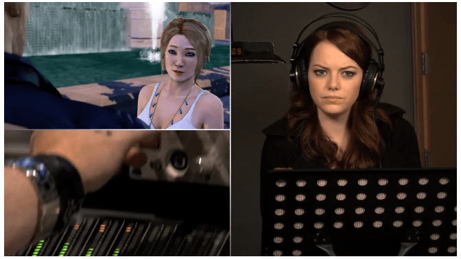 Emma Stone recording voice overs for Sleeping Dogs