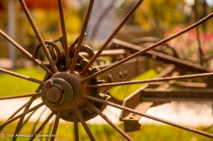 The spoke of an old tractor wheel
