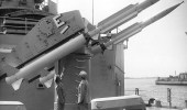 In the late 1950s, RIM-2 Terrier missiles replaced eight six-inch guns aboard the cruiser Providence. (Navy)