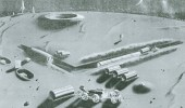 Artist's conception of a lunar base prepared for the Army's Project Horizon study.