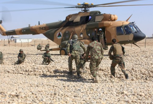 Afghan National Army soldiers learn to medevac casualties at Camp Shorabak in Helmand Province on Feb. 19, 2014. For many, this was the first time they had been aboard a helicopter. (U.S. Marine Corps)