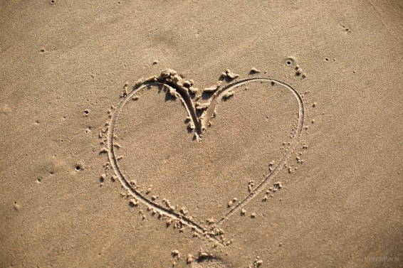 Hearts in The sand at the beach photographed by Armenyl