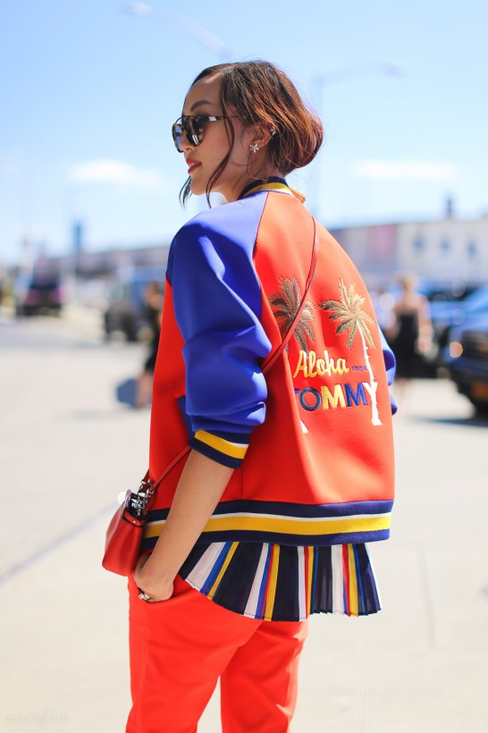 Aloha from Tommy Jacket Orange and Blue street style photographed by Armenyl.com