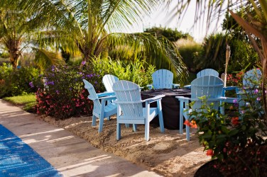 blue beach chairs and flowers by Armenyl photography Armenyl.com copyright