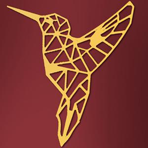 Oiseau - 63/55 cm - Doré en Bois