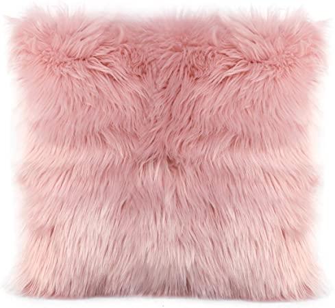 Coussin décoratifs fourrure - 40*40 cm - rose