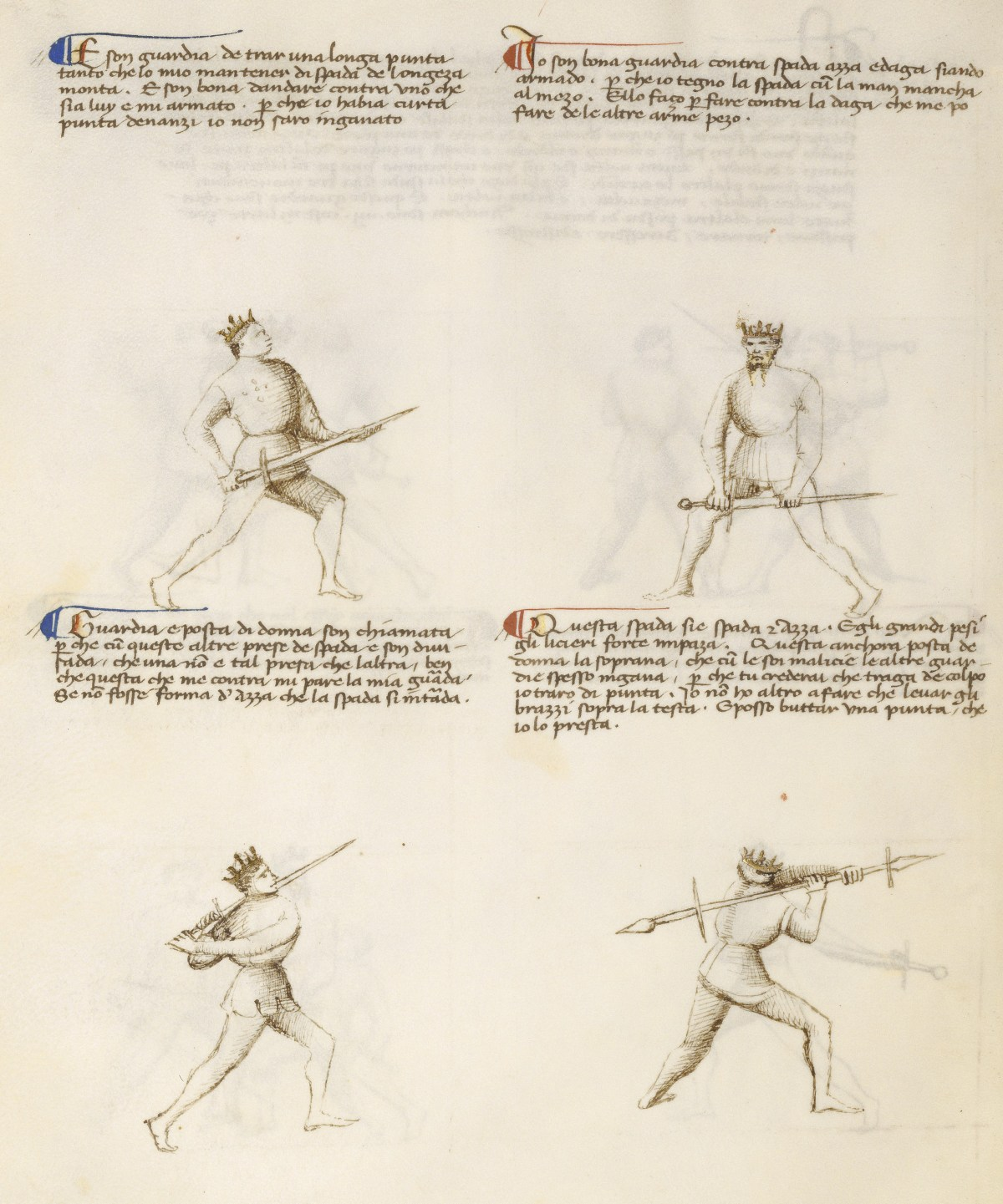 Four of the six Masters of Swordsmanship, detailing the use of the sword by 1) making an extended thrust, 2) gripping the blade to fight in armour, 3) wielding in two-hands by the hilt, 4) gripping the blade to wield the sword like an axe. )Getty Ms. 22v