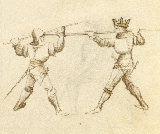 A heel-strike made by the Magistro Contrario of the spear. (Getty Ms. 39v)