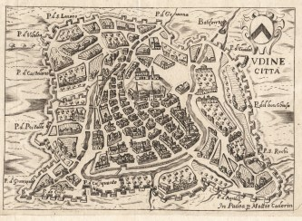The city of Udine, as depicted in a Renaissance-era map. The city became the center of Ghibelline resistance in the Patriarchate War of Succession.