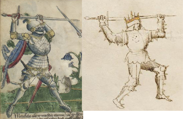 The high guard, or Serpentina la Soprana. Again, the sword in armour guards are generally the same in all medieval sources, but it is how the artists have portrayed the small details in the two sets of manuscripts that is so intriguing.
