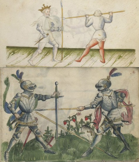 Gladiatoria has two plays where one weapon is used like a narrow shield, while the right hand carries a dagger or sword. A similar example appears in Paulus Kal for parrying a hurled spear, but only Gladiatoria and il Fior di Battaglia emphasize the use of the paired weapons against both hurled and carried thrusts.