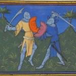 Shield pressing - Ms 490 - Chronique de Bertrand du Guesclin - f192v - France 1405