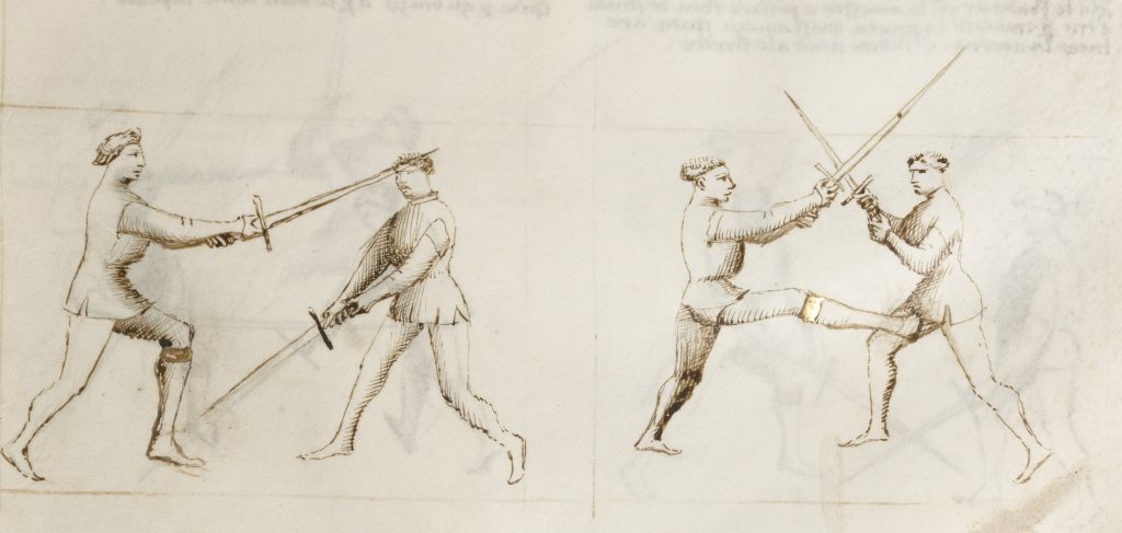 Slipping the leg against a low attack; kicking the groin if the swords bind high.