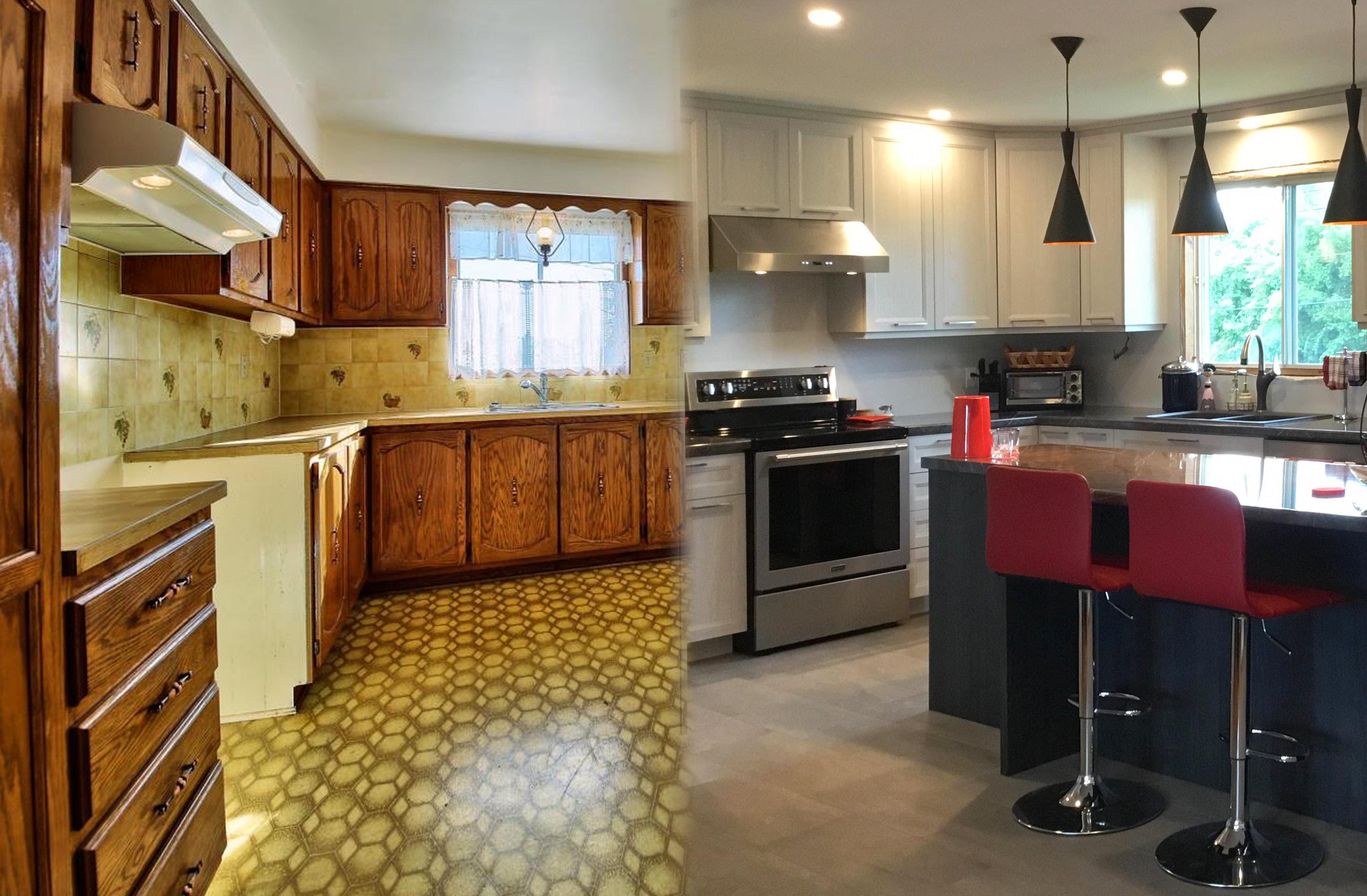 avant apr s r novation de cuisine de m t armoires de. Black Bedroom Furniture Sets. Home Design Ideas