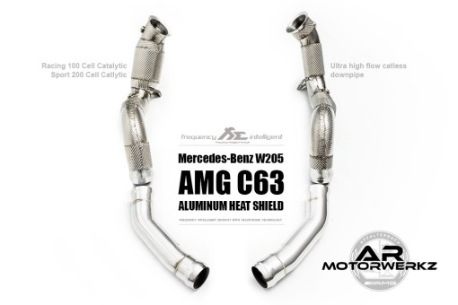 Fi Exhaust C63 AMG W205 downpipe aluminum heat shield