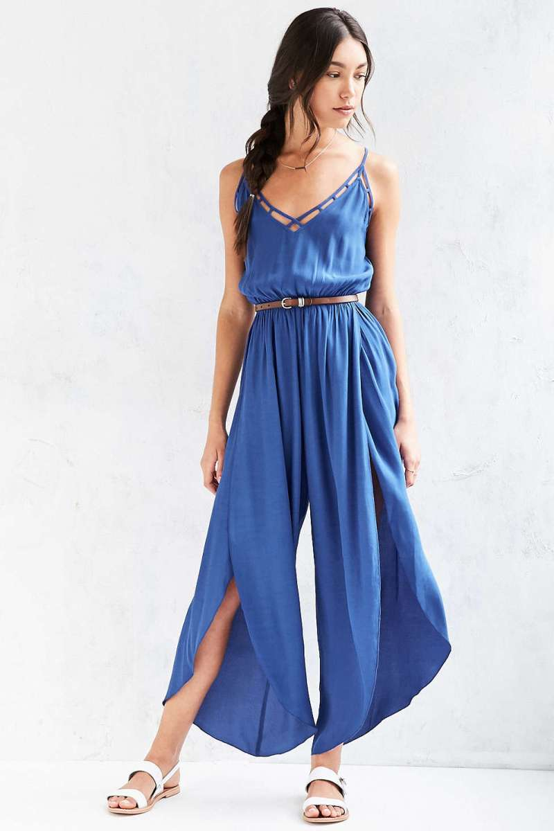 23. Ecote Lattice Spliced Wide Leg Jumpsuit $69
