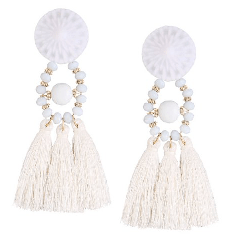 12. RoseGal - Resin Circle Beaded Tassel Earrings - White $4.04