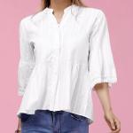 15. RoseGal - Buttoned Flare Sleeve Peplum Shirt $14.59