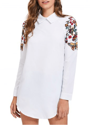 3. RoseGal - Long Sleeve Mini Embroidery Shirt Dress - White $21.90